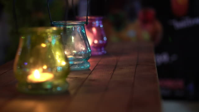 glass candle lamp, lanterns colorful at wedding night decoration - ramadan stock videos and b-roll footage