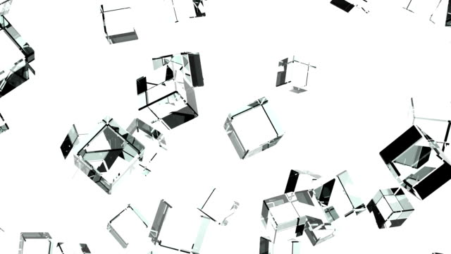 Glass Cubes Abstract On White Background video
