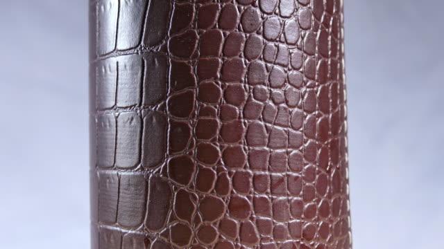 stockvideo's en b-roll-footage met glazen cilinder gemaakt van krokodillenleer. - dierenhuid huid