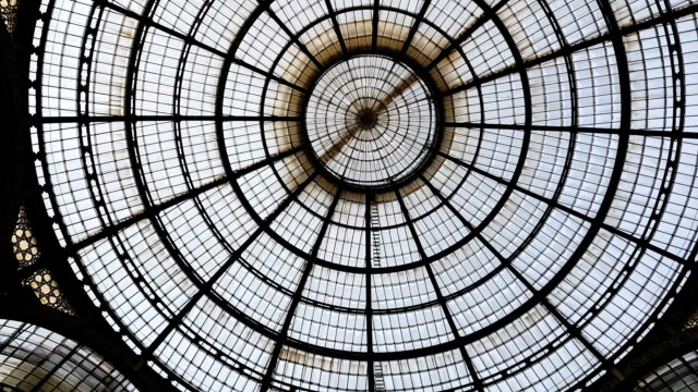 glass dome in milan shopping mall, beautiful symmetrical design, background - italian architecture stock videos & royalty-free footage