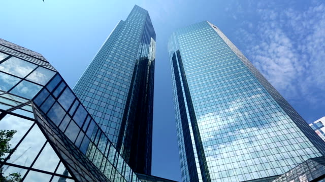 Glass facade of the Deutsche Bank building video