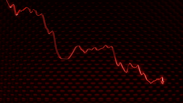 glass graph shattered and broken as recession or  financial crisis - scendere video stock e b–roll