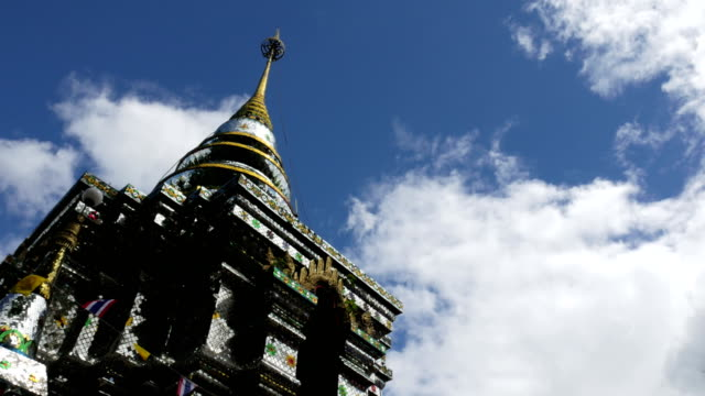 Glass mosaic Stupa at Buddhist Temple at Chiang Rai, Thailand, Public places video