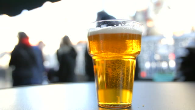 Glass of beer – close-up shot video