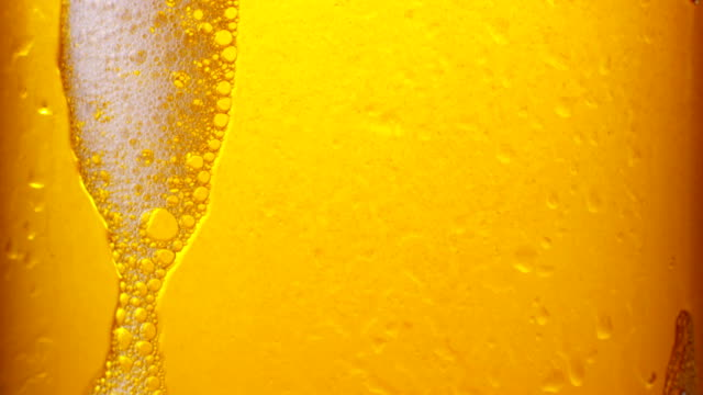 Glass of beer with bubbles video