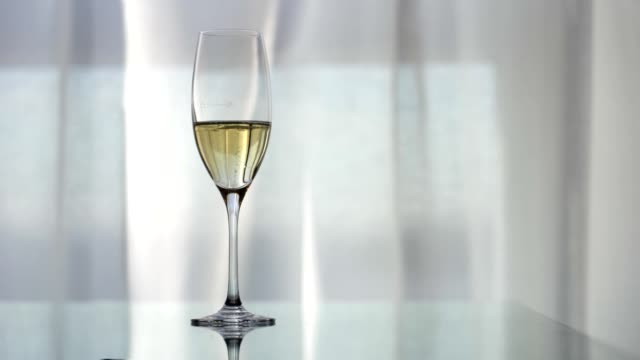 vidéos et rushes de verre de champagne sur le bureau réfléchissant contre le fond clair - flûte à champagne