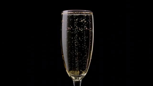 vidéos et rushes de coupe de champagne avec une rotation des bulles à l'intérieur. fond noir. gros plan - flûte à champagne