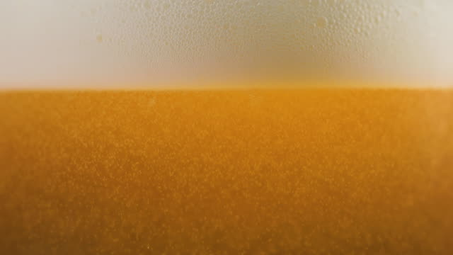 glass of cold and delicious beer in detail video