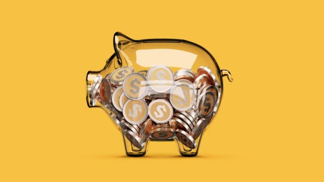 Glass piggy bank stuffed with growing coins. Stop motion animation. 3d rendering piggy bank stock videos & royalty-free footage