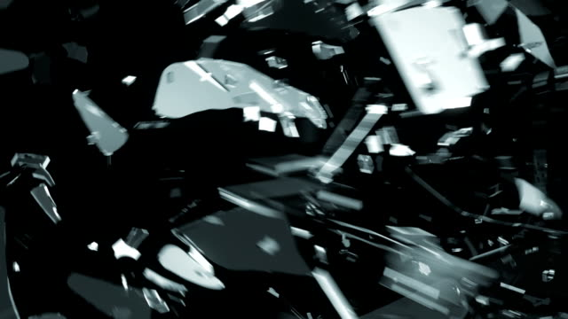 Glass shattered and broken in slow motion and motion blur. Alpha matte video