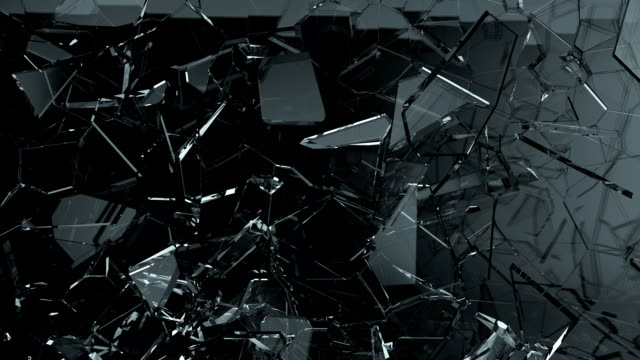 Glass shattered and cracked in slow motion. Alpha matte Glass shattered and cracked in slow motion. Alpha matte glass material stock videos & royalty-free footage