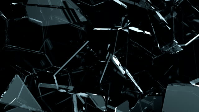Glass shattered and cracked in slow motion. Alpha matte