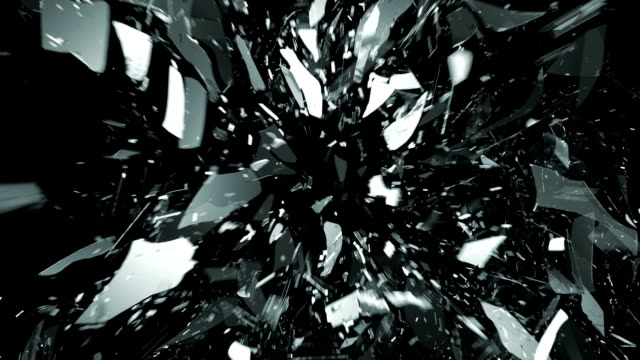 Glass shattered and cracked in slow motion. Alpha matte video