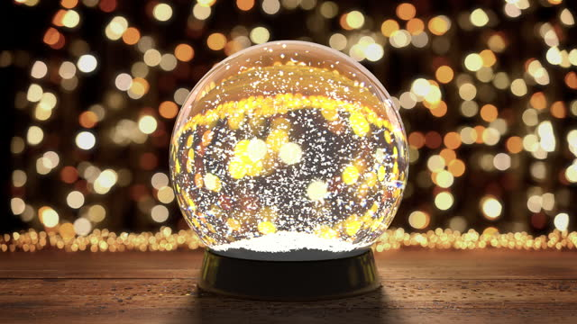 Glass snow globe with flying snowflakes on the background of christmas lights Glass snow globe with flying snowflakes on the background of christmas lights treedeo christmas stock videos & royalty-free footage
