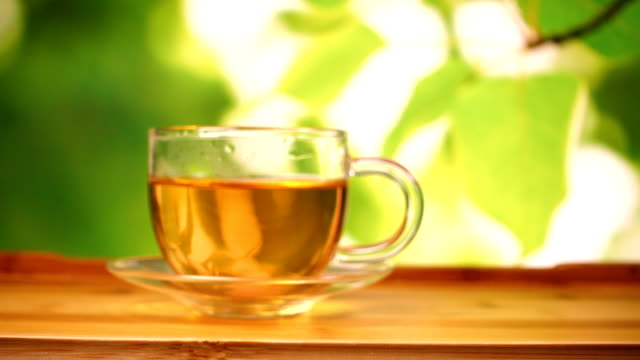 Glass tea cup with green backgroud video