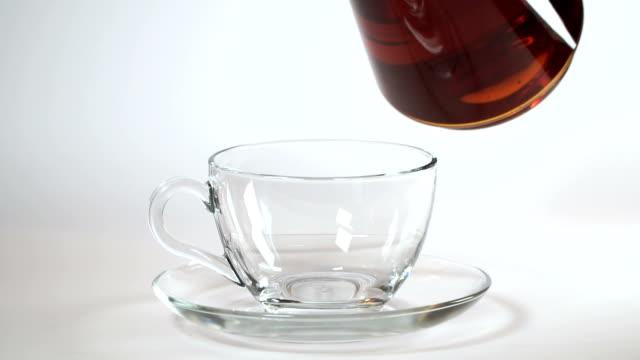 Glass Teapot Pouring Tea Into Teacup video