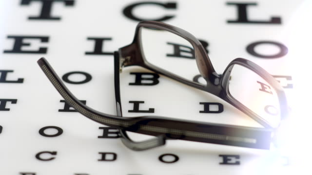 Glasses Medical Alphabet Looking. Glasses On Letter Chart. Glasses Medical Alphabet Looking. High quality 4k footage eye chart stock videos & royalty-free footage