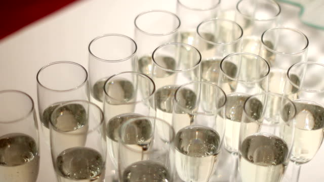 glasses of champagne with bubbles video