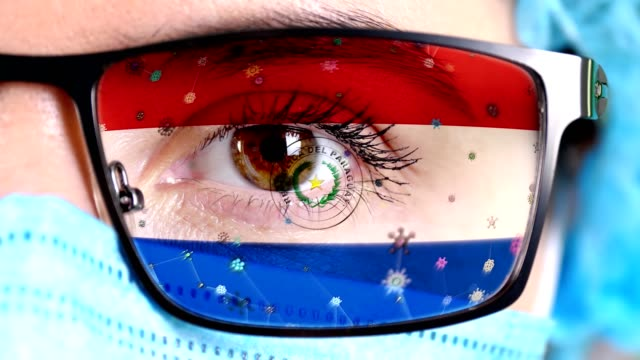 glasses on doctor's face painted in colors of paraguay flag - парагвай стоковые видео и кадры b-roll