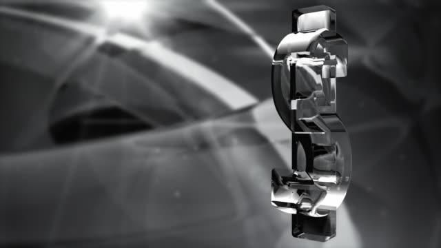 Glassy Dollar Symbol Spin Background Loop - Black & White HD video