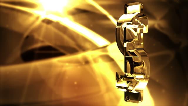 Glassy Dollar Symbol Spin Background Loop - Golden Glow video
