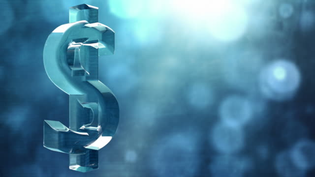 Glassy Dollar Symbol Spin Background Loop - Textured Blue HD video