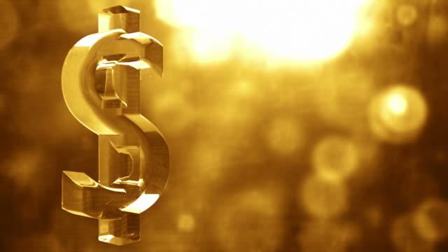 Glassy Dollar Symbol Spin Background Loop - Textured Golden Glow video