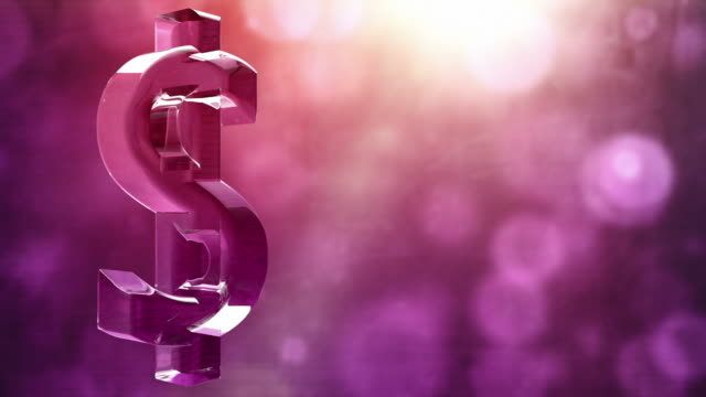Glassy Dollar Symbol Spin Background Loop - Textured Pink HD video