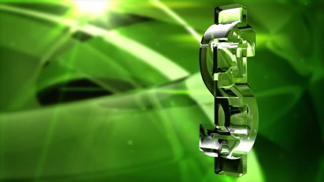 Glassy Dollar Symbol Spin Background Loop - Vibrant Green HD video