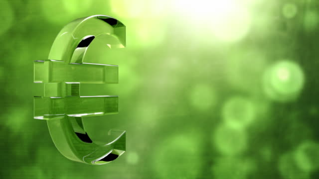 Glassy Euro Symbol Spin Background Loop - Textured Green HD video