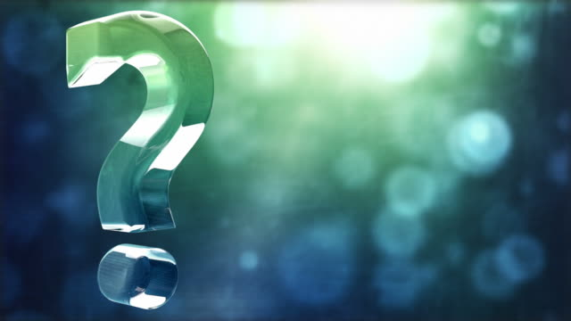 Glassy Question Mark Spin Background Loop - Textured Aqua Glow video