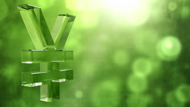 Glassy Yen Symbol Spin Background Loop - Textured Green HD video