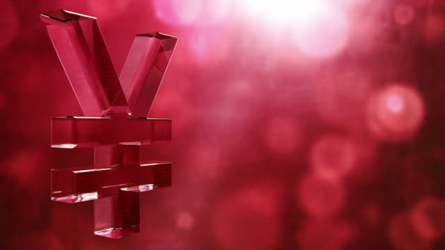 Glassy Yen Symbol Spin Background Loop - Textured Red HD video