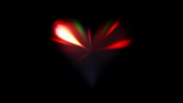 gleaming heart iridescent glaring beams motion