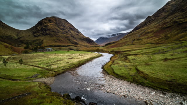 AERIAL: Glen Etive, Scottish Highlands Flight over Glen Etive, an idyllic small valley in the Scottish Highlands near Glencoe, Scotland, United Kingdom. Etive River in the foreground. scotland stock videos & royalty-free footage
