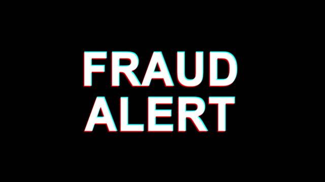 fraud alert glitch effect text digital tv distortion 4k loop animation - fraud stock videos & royalty-free footage