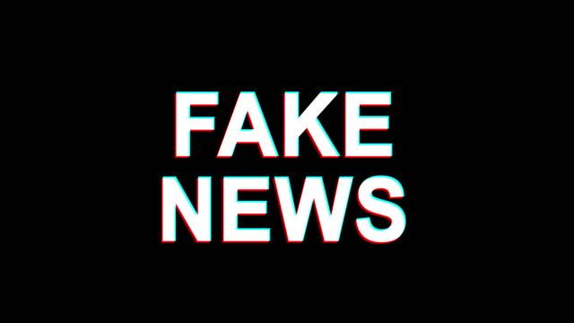 fake news glitch effect text digital tv distortion 4k loop animation - censura video stock e b–roll