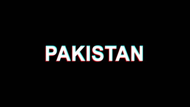 PAKISTAN Glitch Effect Text Digital TV Distortion 4K Loop Animation