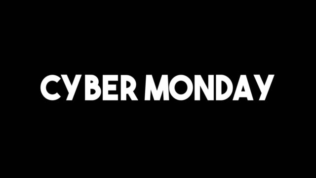glitch style cyber monday advertisement banner on glitched black background loop with alpha mask - cyber monday стоковые видео и кадры b-roll