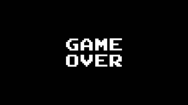 GAME OVER Glitch Text Animation (3 Versions with Alpha Channel), Old Gaming Console Style, Rendering, Background, Loop