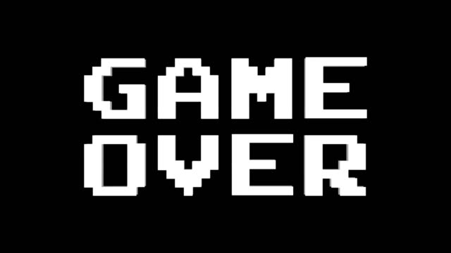 game over glitch text animation (3 versions with alpha channel), old gaming console style, rendering, background, loop - coprire video stock e b–roll