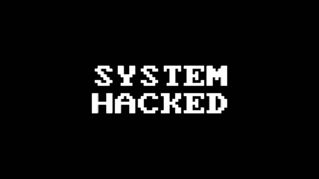 system hacked glitch text animation (3 versions with alpha channel), old gaming console style, rendering, background, loop - spyware filmów i materiałów b-roll