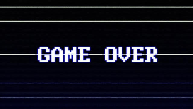 GAME OVER Glitch Text Animation (3 Versions with Alpha Channel), Old Gaming Console Style,