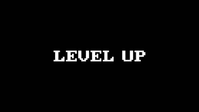 glitch metin animasyon, render, arka plan, alfa kanalı, döngü ile yukarı seviye - video oyunu stok videoları ve detay görüntü çekimi