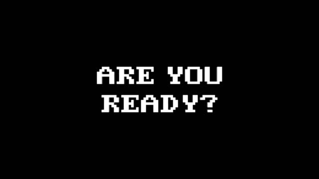 ARE YOU READY? Glitch Text Animation, Rendering, Background, with Alpha Channel, Loop