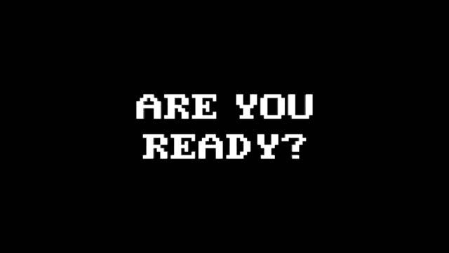 vídeos de stock, filmes e b-roll de está pronto? animação de texto falha, renderização, plano de fundo, com canal alfa, loop - game