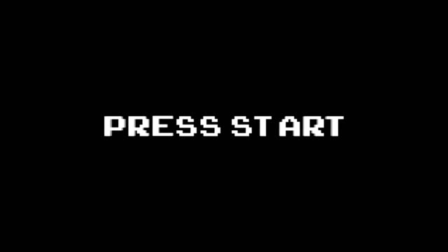 press start glitch text animation - pchać filmów i materiałów b-roll