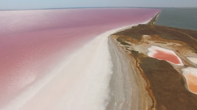 AERIAL: Glittering water surface of red salt lake Reflection of sun on water surface of red salt lake, aerial video, drone point of view salt flat stock videos & royalty-free footage