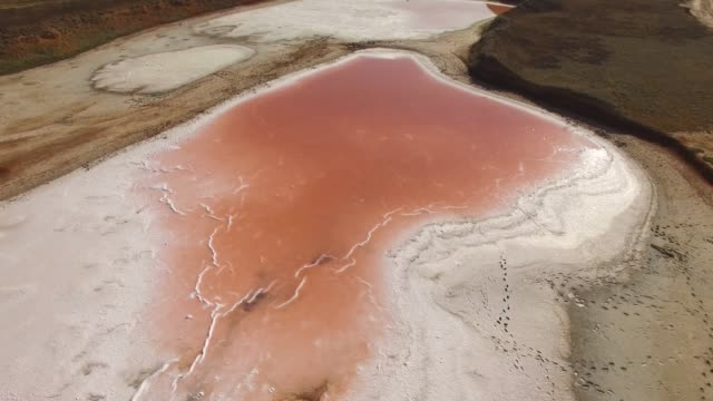 vídeos de stock e filmes b-roll de aerial: glittering water surface of red salt lake - reserva natural