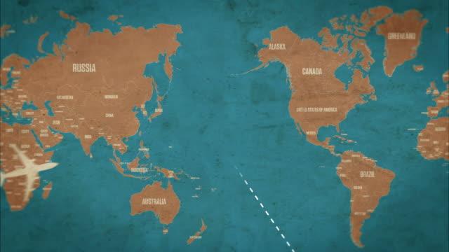 global air travel mit ländern und worldmap nahtlose loop - kartographie stock-videos und b-roll-filmmaterial